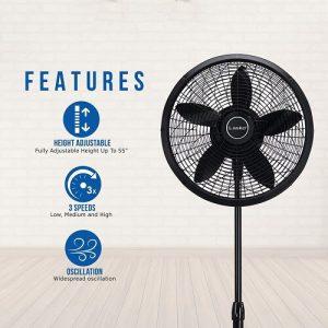 Lasko 1827 18″ Elegance & Performance Adjustable Pedestal Fan